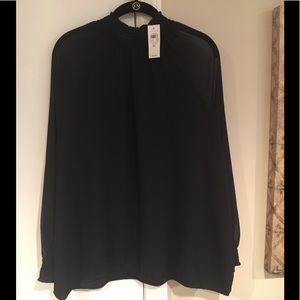 Ann Taylor Factory XL navy sheer shirt NWT